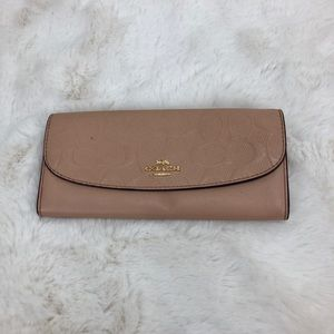 Coach Signature Pool Embossed Leather Soft Wallet